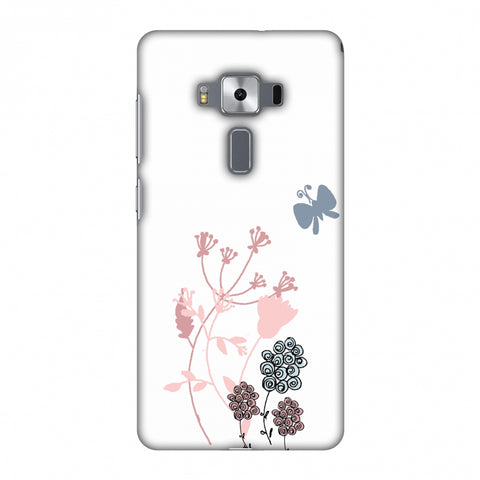 Flowers And Butterfly - Transparent Slim Hard Shell Case For Asus Zenfone 3 Deluxe ZS570KL