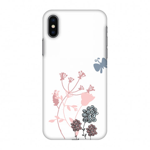 Flowers And Butterfly - Transparent Slim Hard Shell Case For Apple iPhone X