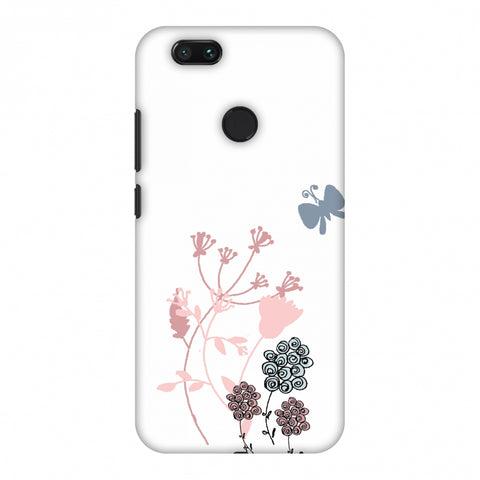 Flowers And Butterfly - Transparent Slim Hard Shell Case For Xiaomi MI A1-5X