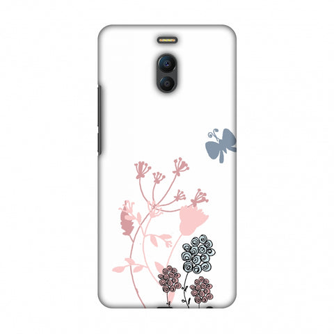 Flowers And Butterfly - Transparent Slim Hard Shell Case For Meizu Note 6