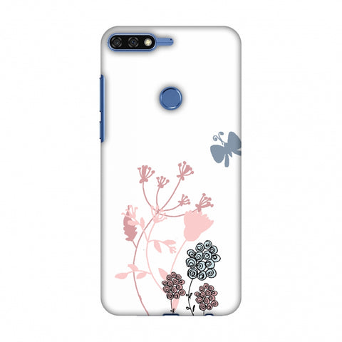 Flowers And Butterfly - Transparent Slim Hard Shell Case For Huawei Honor 7C