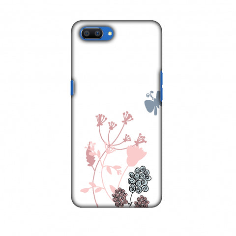 Flowers And Butterfly - Transparent Slim Hard Shell Case For Oppo Realme C1