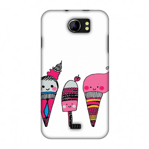 Ice Creams - Transparent Slim Hard Shell Case For Micromax Canvas 2 A110