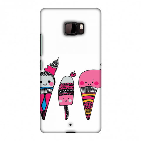 Ice Creams - Transparent Slim Hard Shell Case For HTC U Ultra