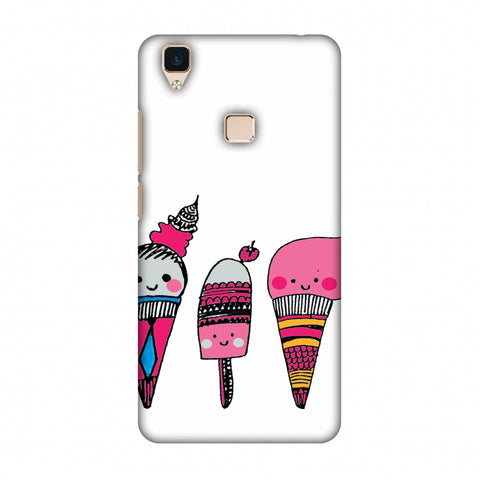 Ice Creams - Transparent Slim Hard Shell Case For Vivo V3