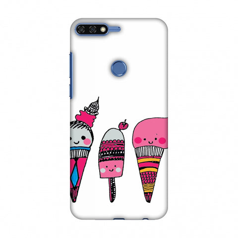 Ice Creams - Transparent Slim Hard Shell Case For Huawei Honor 7C