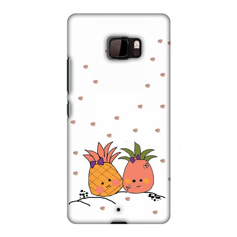 Pineapple Blush - Transparent Slim Hard Shell Case For HTC U Ultra