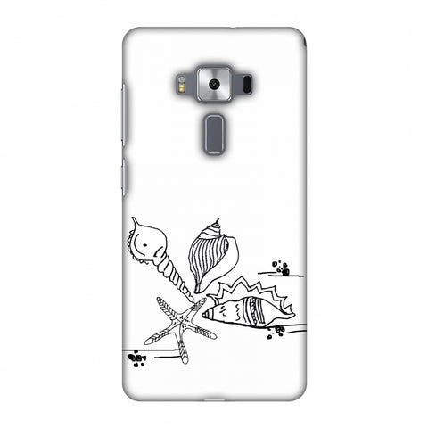 Sea Shells - Transparent Slim Hard Shell Case For Asus Zenfone 3 Deluxe ZS570KL