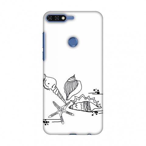 Sea Shells - Transparent Slim Hard Shell Case For Huawei Honor 7C