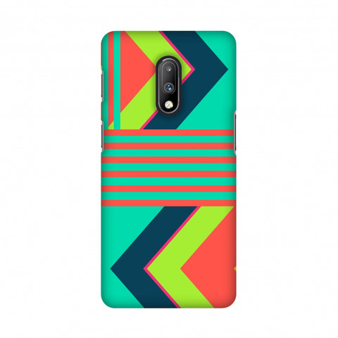Aztec- Teal and coral Slim Hard Shell Case For OnePlus 7