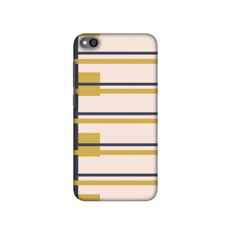 Blocking- Beige and mustard Slim Hard Shell Case For Redmi Go