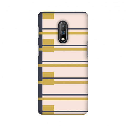 Blocking- Beige and mustard Slim Hard Shell Case For OnePlus 7