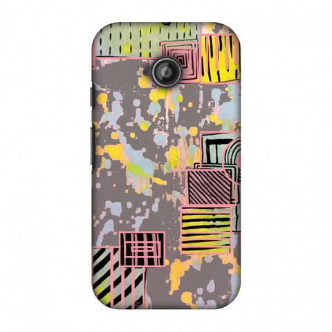 Painted Blocks - Grey Slim Hard Shell Case For Motorola Moto E 2nd Gen