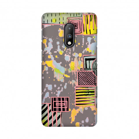 Painted blocks- Grey Slim Hard Shell Case For OnePlus 7