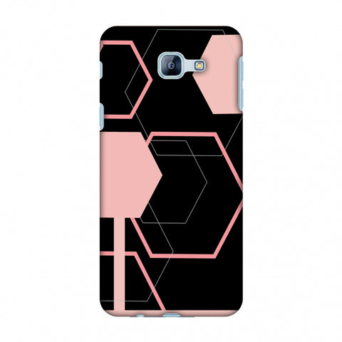 Hexagons - Baby Pink And Black Slim Hard Shell Case For Samsung Galaxy A8 2016