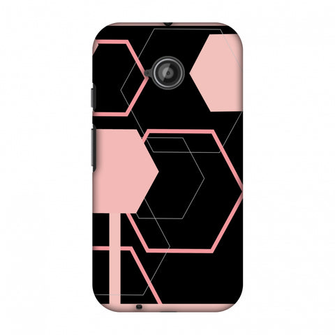 Hexagons - Baby Pink And Black Slim Hard Shell Case For Motorola Moto E 2nd Gen