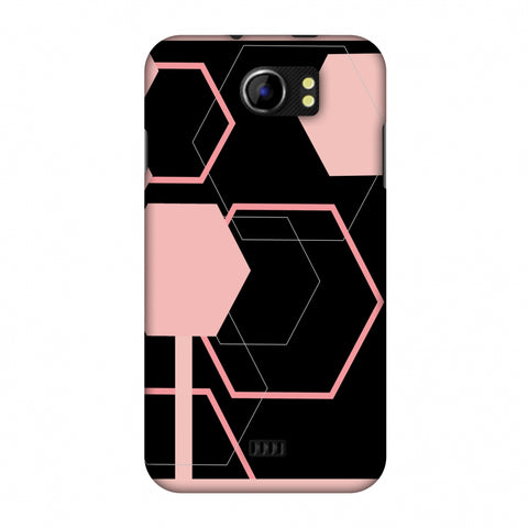 Hexagons - Baby Pink And Black Slim Hard Shell Case For Micromax Canvas 2 A110