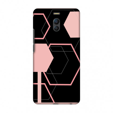 Hexagons - Baby Pink And Black Slim Hard Shell Case For Meizu Note 6