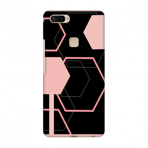 Hexagons - Baby Pink And Black Slim Hard Shell Case For Vivo X20 Plus