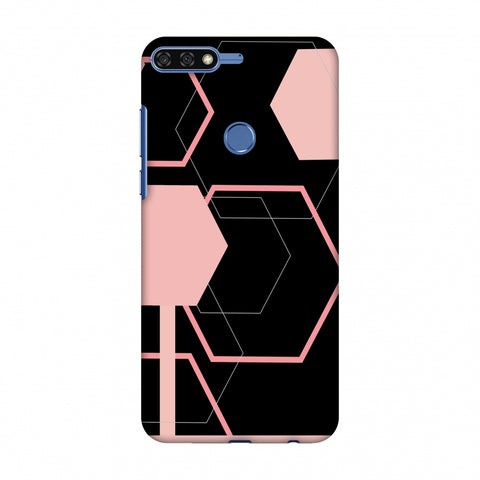 Hexagons - Baby Pink And Black Slim Hard Shell Case For Huawei Honor 7C