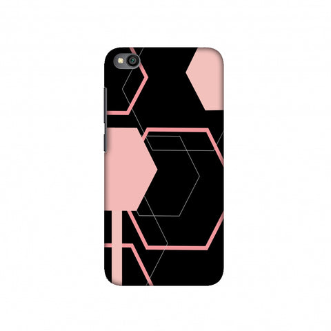 Hexagons- Baby pink and black Slim Hard Shell Case For Redmi Go