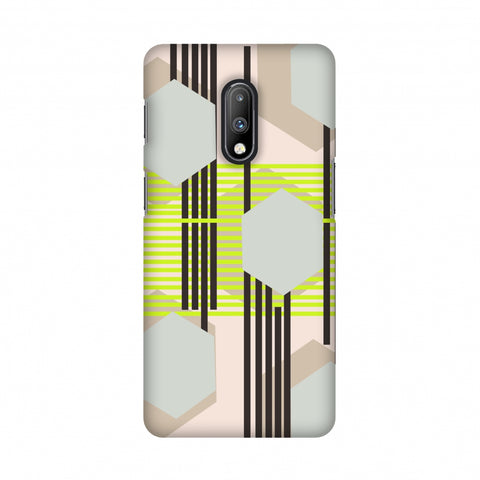 Honeycomb hybrid- Teal and baby pink Slim Hard Shell Case For OnePlus 7