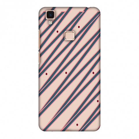 Illusionary Stripes - Steel Grey And Baby Pink Slim Hard Shell Case For Vivo V3 Max