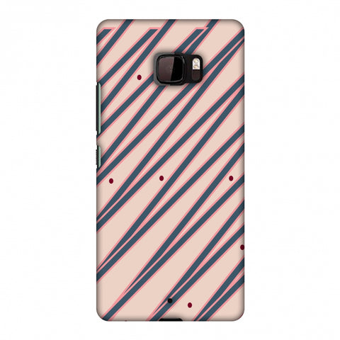 Illusionary Stripes - Steel Grey And Baby Pink Slim Hard Shell Case For HTC U Ultra