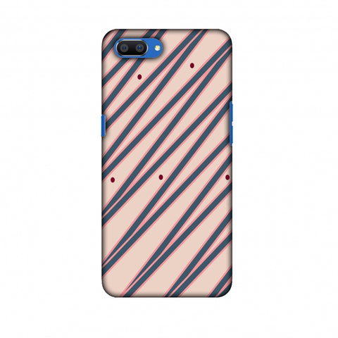Illusionary Stripes - Steel Grey And Baby Pink Slim Hard Shell Case For Oppo Realme C1
