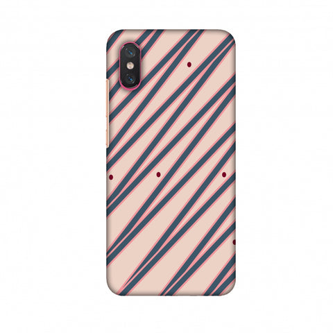 Illusionary Stripes - Steel Grey And Baby Pink Slim Hard Shell Case For Xiaomi Mi 8 Pro