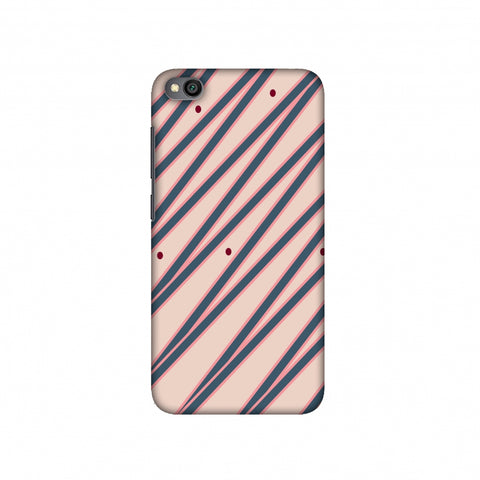 Illusionary stripes- Steel grey and baby pink Slim Hard Shell Case For Redmi Go