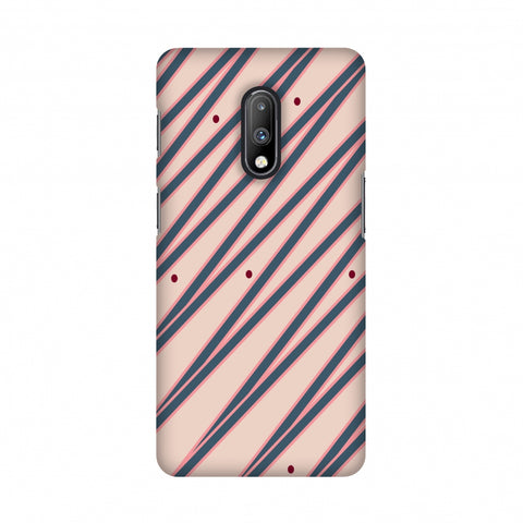 Illusionary stripes- Steel grey and baby pink Slim Hard Shell Case For OnePlus 7
