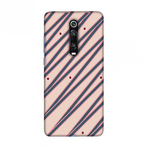 Illusionary stripes- Steel grey and baby pink Slim Hard Shell Case For Redmi K20/K20 Pro