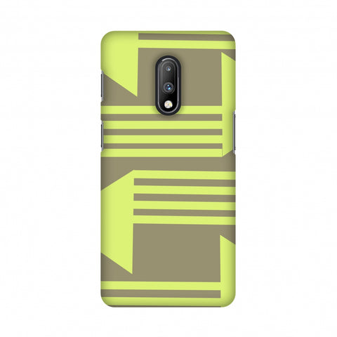 Neon triangles- Pale brown Slim Hard Shell Case For OnePlus 7