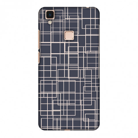 Puzzled Lines - Steel Grey Slim Hard Shell Case For Vivo V3 Max