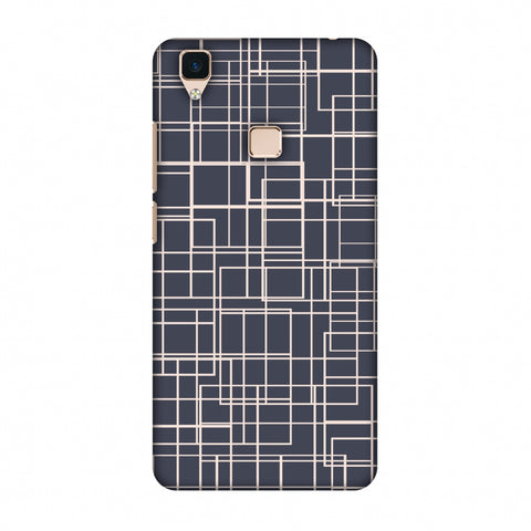 Puzzled Lines - Steel Grey Slim Hard Shell Case For Vivo V3