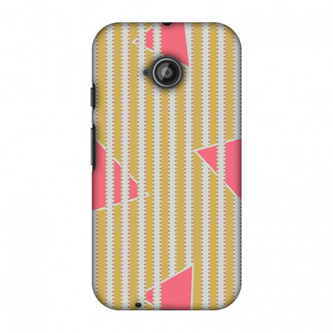 Stripes And Triangles - Mustard And Pink Slim Hard Shell Case For Motorola Moto E 2nd Gen
