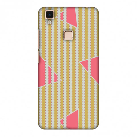 Stripes And Triangles - Mustard And Pink Slim Hard Shell Case For Vivo V3 Max