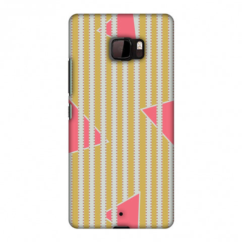Stripes And Triangles - Mustard And Pink Slim Hard Shell Case For HTC U Ultra
