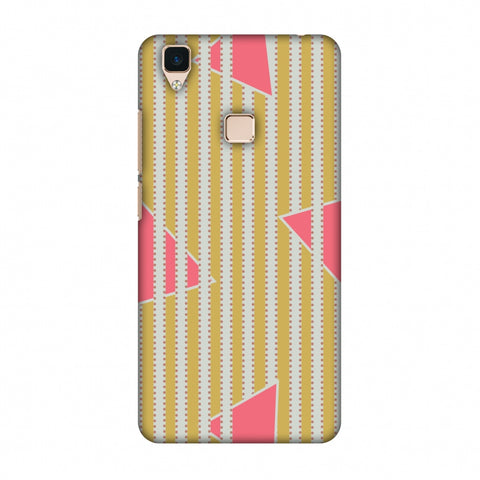 Stripes And Triangles - Mustard And Pink Slim Hard Shell Case For Vivo V3