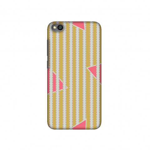 Stripes and triangles- Mustard and pink Slim Hard Shell Case For Redmi Go