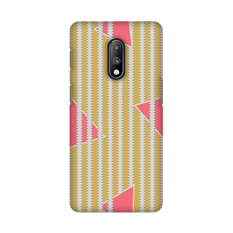 Stripes and triangles- Mustard and pink Slim Hard Shell Case For OnePlus 7