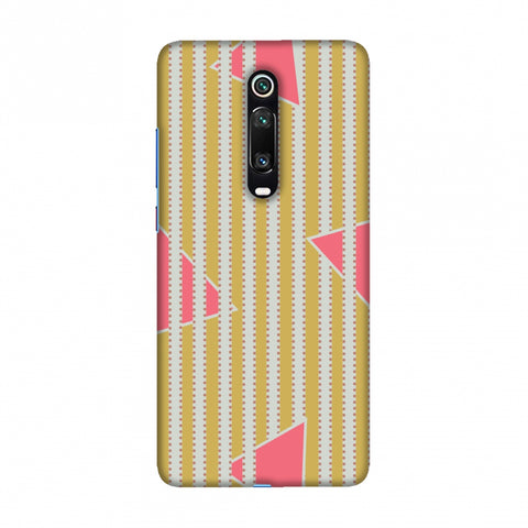 Stripes and triangles- Mustard and pink Slim Hard Shell Case For Redmi K20/K20 Pro