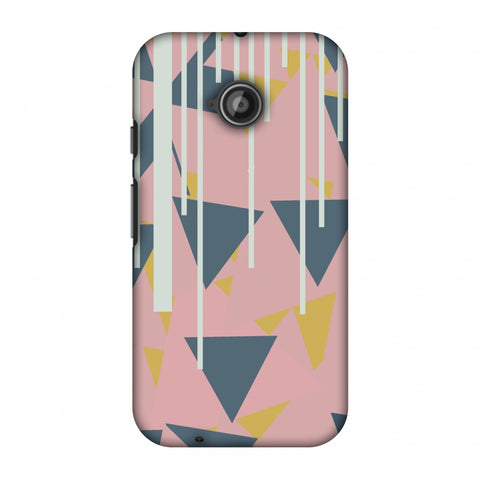 Vertical Stripes Cut - Pink And Steel Grey Slim Hard Shell Case For Motorola Moto E 2nd Gen