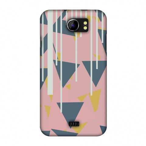 Vertical Stripes Cut - Pink And Steel Grey Slim Hard Shell Case For Micromax Canvas 2 A110