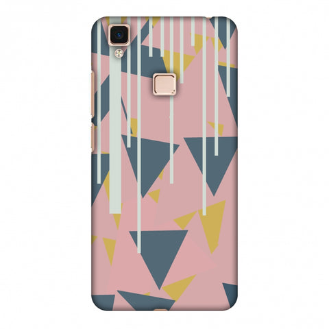 Vertical Stripes Cut - Pink And Steel Grey Slim Hard Shell Case For Vivo V3 Max