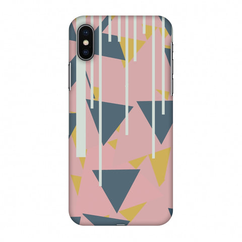 Vertical Stripes Cut - Pink And Steel Grey Slim Hard Shell Case For Apple iPhone X