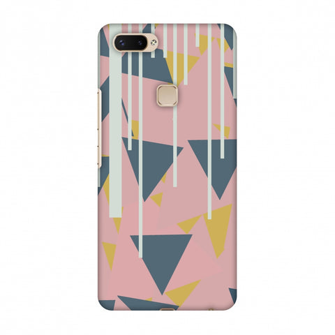 Vertical Stripes Cut - Pink And Steel Grey Slim Hard Shell Case For Vivo X20 Plus