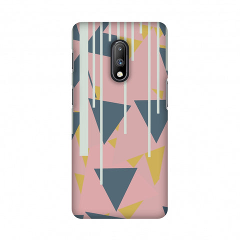 Vertical stripes cut- Pink and steel grey Slim Hard Shell Case For OnePlus 7
