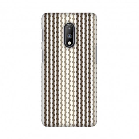Patterned stripes- Beige and brown Slim Hard Shell Case For OnePlus 7